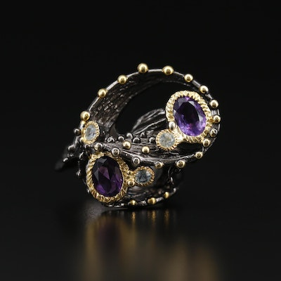 Sterling Amethyst and Topaz Biomorphic Ring