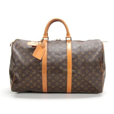 Louis Vuitton Keepall 50 Duffel in Monogram Canvas and Vachetta Leather