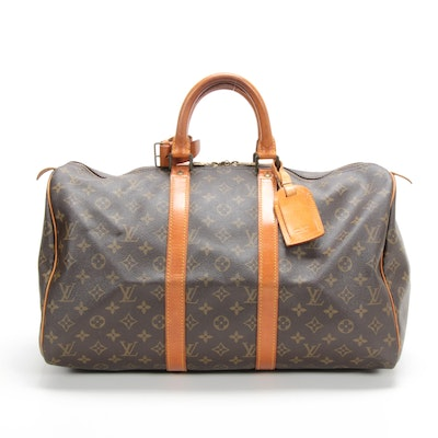 Louis Vuitton Keepall 45 Duffel in Monogram Canvas and Vachetta Leather