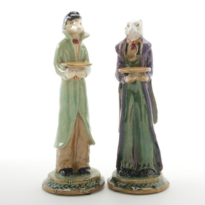 Anthropomorphic Fox and Hare Hand-Painted Ceramic Figurines