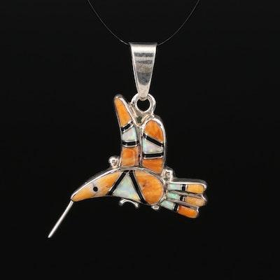 Andrew Dewa Zuni Sterling Inlay Hummingbird Pendant