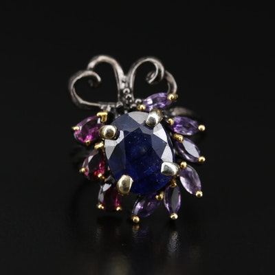 Sterling Silver Corundum and Amethyst Heart Motif Ring
