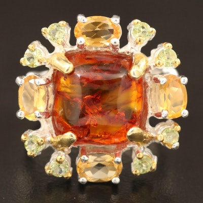 Sterling Amber, Citrine and Peridot Ring