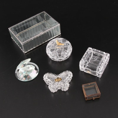 Crystal and Cut Glass Vanity and Trinket Boxes, Mid to late 20th Century