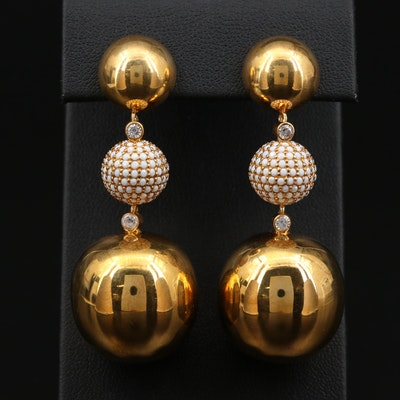Sterling Silver Sphere Drop Earrings with Cubic Zirconia Accents