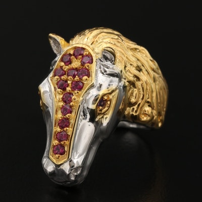 Sterling Garnet and Amethyst Horsehead Motif Ring