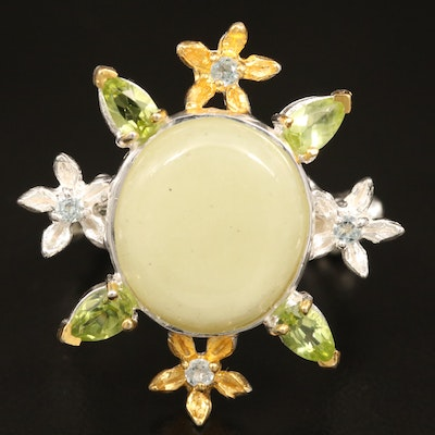 Sterling Corundum, Peridot and White Topaz Floral Ring