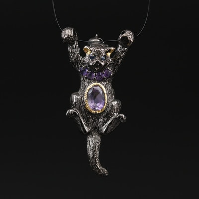 Sterling Silver Amethyst and Sapphire Cat Brooch