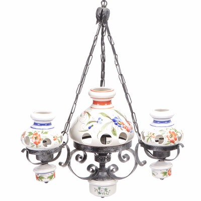 Scrolled Metal Chandelier with Floral Motif Hand Painted Ceramic Shades
