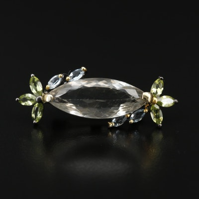 Sterling Silver Prasiolite, Topaz and Peridot Brooch