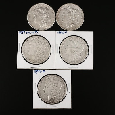 Five Morgan Silver Dollars, 1890 to 1902