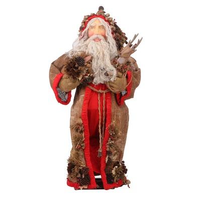 Handcrafted Papier-Mâché Rustic Woodland Santa Figure