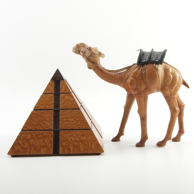 Vermont Woodware Pyramid Jewelry Box and Leather Camel Figure