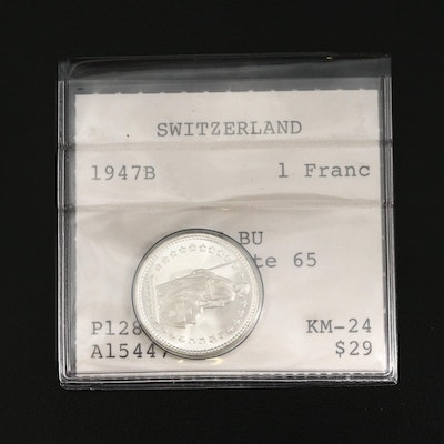 1947-B Switzerland 1-Franc Uncirculated Silver Coin