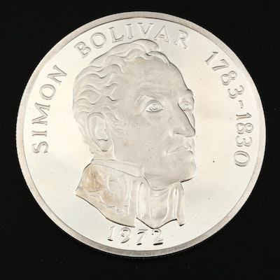 1972 Panama 20-Balboas Simon Bolivar Commemorative Proof Silver Coin
