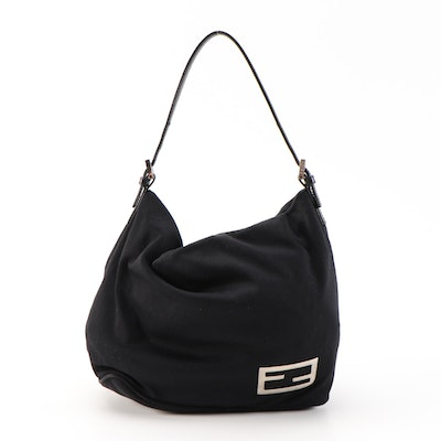 Fendi Black Fabric Handbag with Leather Trim