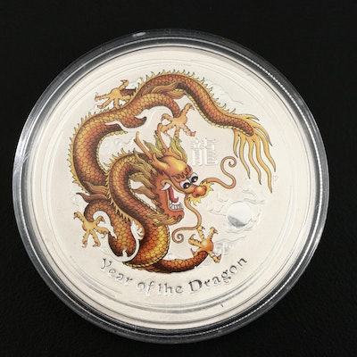 "2012-P Australia $1 Colorized ""Year of the Dragon"" Commemorative Silver Coin"