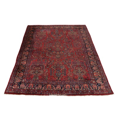 9'1 x 11'9 Hand-Knotted Persian Sarouk Room Size Rug, 1920s