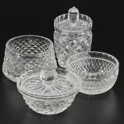 Waterford Crystal Bowls and Jar with Cut Crystal Jar, Late 20th Century