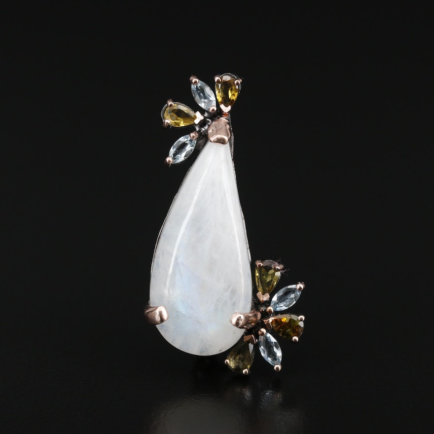 Sterling Silver Moonstone, Topaz and Tourmaline Brooch