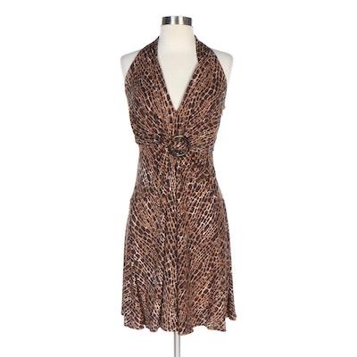 Michael Kors Animal Print Rayon Halter Dress