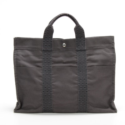 Hermès Herline MM Tote in Black/Grey Canvas