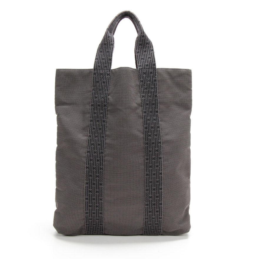 Hermès Paris Herline Cabas Tote in Grey/Black Toile Canvas