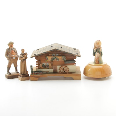 Anri Figural Carved Wood Music Box, Wood Chalet Music Box, and Wood Figures