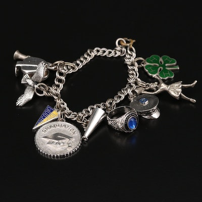 Sterling Silver Charm Bracelet with Clarinet and 4-H Clover Charms