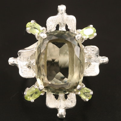 Sterling Quartz and Peridot Ring