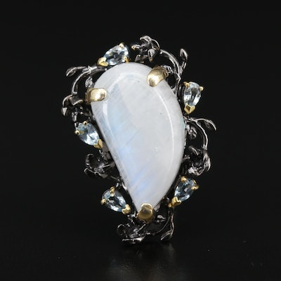 Sterling Silver Moonstone and Topaz Brooch Featuring Floral Motif
