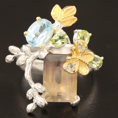 Sterling Citrine, Topaz and Peridot Ring with Butterfly Accents