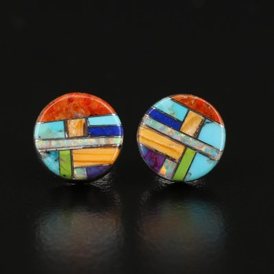 Sterling Silver Spiny Oyster, Turquoise and Faux Opal Inlay Stud Earrings