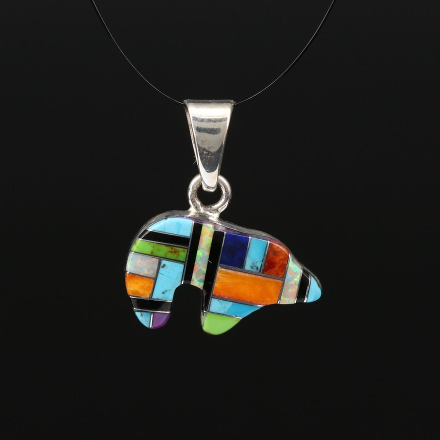 Sterling Silver Spiny Oyster, Turquoise and Faux Opal Inlay Bear Pendant