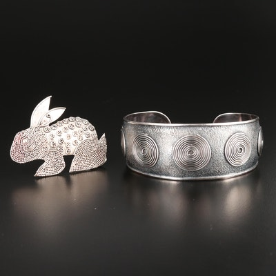 Sterling Silver Cuff Bracelet and Rabbit Brooch