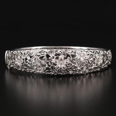 Sterling Silver Openwork Floral Bangle Bracelet