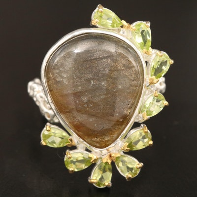 Sterling Silver Labradorite and Peridot Ring