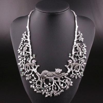 Sterling Silver Gemstone Bib Necklace Featuring Wildlife Motif