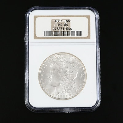 NGC Graded MS64 1887 Morgan Silver Dollar