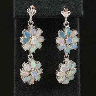 Sterling Opal and Fancy Sapphire Drop Earrings