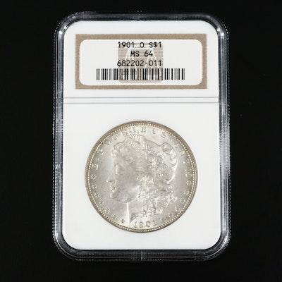 NGC Graded MS64 1901-O Morgan Silver Dollar