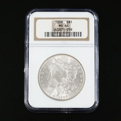 NGC Graded MS64 1888 Morgan Silver Dollar