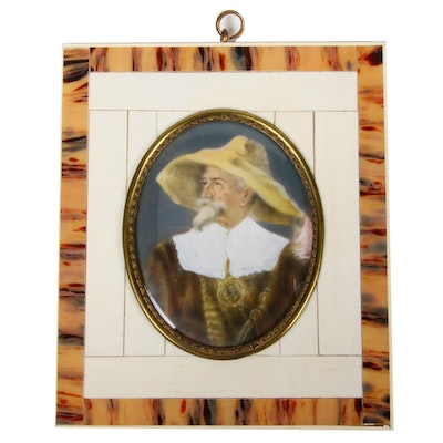 Portrait of Don Quixote on Porcelain with Horn and Bone Frame, Early 20th C.