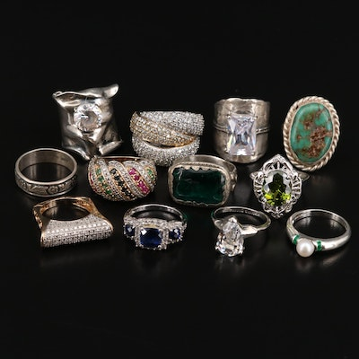 Sterling Ring Assortment Including Sapphire, Diamond and 800 Silver