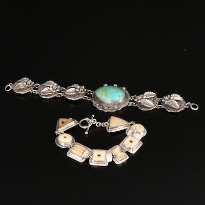 Sterling Silver Carved Bone and Faux Turquoise Bracelet