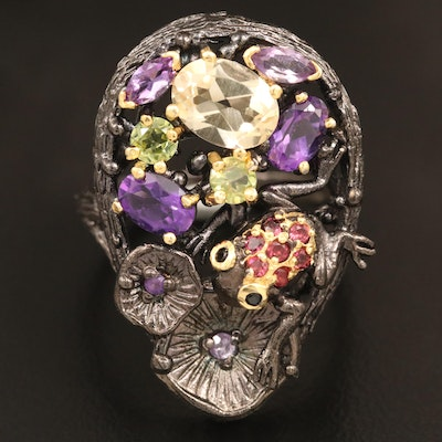 Oxidized Sterling Silver Peridot, Citrine and Amethyst Frog Motif Ring