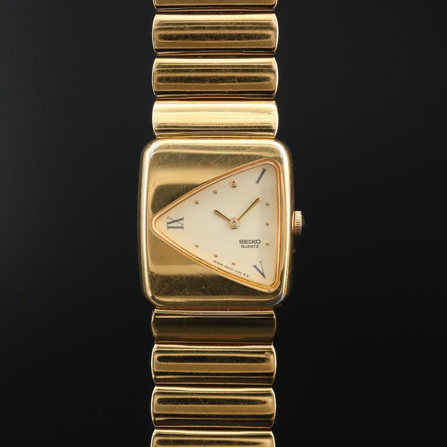 Vintage Seiko 4N00 - 5289 Gold Tone Quartz Wristwatch