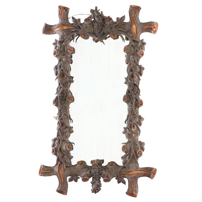 Monumental Black Forest Carved Pier Mirror, Late 19th/Early 20th Century