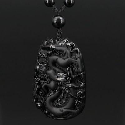Obsidian Dragon Necklace