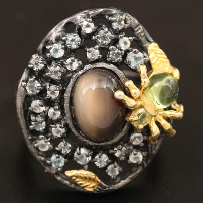 Sterling Silver Opal and Gemstone Ring Featuring Spider Design